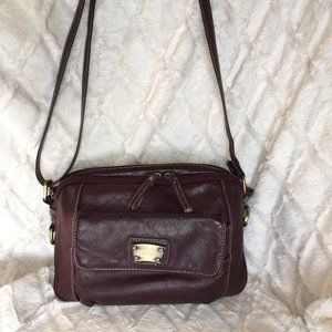 Burgundy Leather Crossbody Bag with compartments